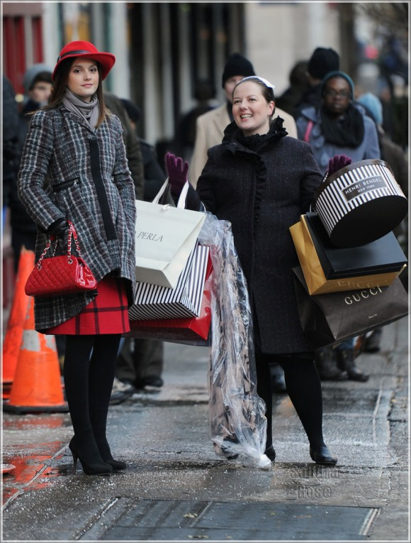 "Leighton Meester on location for ""Gossip Girl"" on Madison Avenue."